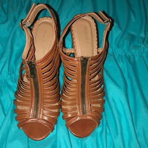 Cognac Rampage Strappy Wedge Sandals